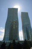 De bouw van moderne gebouwen in Astana Stock Afbeelding