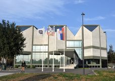 De bouw van Museum van Eigentijdse Kunst in Belgrado royalty-vrije stock fotografie