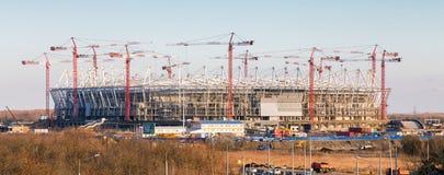 De bouw van nieuw voetbalstadion rostov-op-trekt binnen aan Rusland Stock Afbeelding