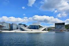 De bouw van de opera in Oslo, Noorwegen stock fotografie