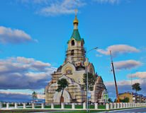 De bouw van de Orthodoxe kerk in Kogalym Stock Afbeelding