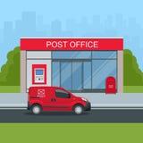 De bouw van postkantoor en postauto Correspondentie geïsoleerde vectorillustratie vector illustratie