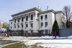 De bouw van de Russische ambassade in Kyiv Stock Afbeeldingen