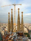 De bouw van Sagrada Familia, Barcelona, Spanje Stock Foto's