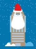 De bouw van Santa Claus Wolkenkrabber met baard en snor Royalty-vrije Stock Fotografie