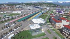 De Bouw van SOTCHI, RUSLAND van nieuwe hotels in het Olympische dorp in Sotchi, Rusland De capaciteit zal 2.600 mensen bereiken E Stock Foto