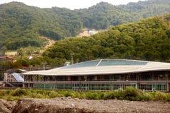 De bouw van spoorwegpost in Estosadok Royalty-vrije Stock Foto's