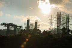 De bouw van de staalbrug Stock Foto's