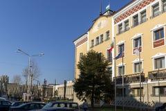De bouw van Stadhuis in het centrum van Stad van Haskovo, Bulgarije Stock Foto