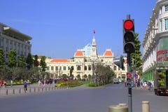De bouw van Stadhuis in Saigon Stock Foto