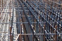 De bouw van stichting met staalstaven Stock Foto's