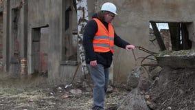 De bouw van supervisor gecontroleerd gebouwengrondgebied vóór vernieling stock videobeelden