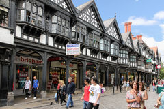 De bouw van Tudor in Straat Northgate. Chester. Engeland stock foto's