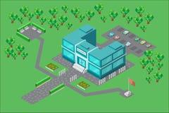 De bouw van de Universiteit in isometrisch Royalty-vrije Stock Afbeelding