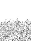 De bouw van vectorkunst voor kaart, decotation Zwart-witte lineart, schetsstijl Royalty-vrije Stock Fotografie