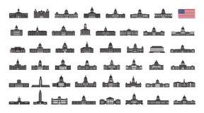 De bouw van de Verenigde Staten van Amerika Vectorinzameling van de de stadsbouw van Verenigde Staten Royalty-vrije Stock Foto