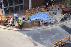 De bouw van verkeersveiligheidsfaciliteiten Stock Foto's