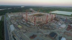 De bouw van voetbalstadion voor het kampioenschap 2018 Rostov-op-trek aan Rusland stock video