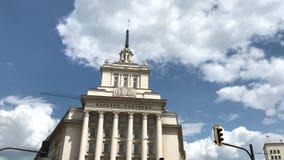De bouw van Vroeger Communistisch Partijhuis in Sofia stock videobeelden