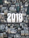 De bouw van 2018 Zaken, bouw, de groeiconcept 3d teruggevende illustratie van een stad Royalty-vrije Stock Foto's