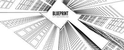 De bouw wireframe 3d geef stad terug vector illustratie