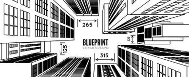 De bouw wireframe 3d geef stad terug stock illustratie