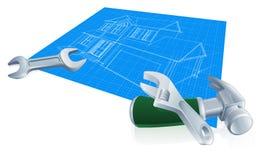De bouwconcept van de huisblauwdruk Royalty-vrije Stock Fotografie