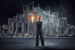 De bouwersmens trekt project Gemengde media Stock Fotografie