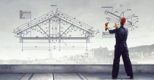 De bouwersmens trekt project Gemengde media Royalty-vrije Stock Afbeeldingen