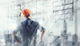 De bouwersmens trekt project Gemengde media Royalty-vrije Stock Afbeelding