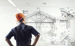 De bouwersmens trekt project Gemengde media Stock Afbeeldingen