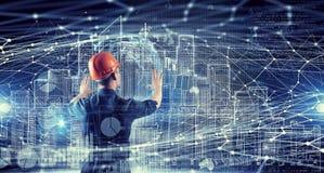De bouwersmens trekt project Gemengde media Stock Afbeelding