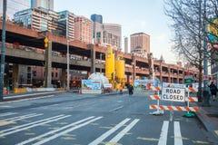 De bouwfebruari 2015 van de waterkant van Seattle, dichtbij Pijler 56 Royalty-vrije Stock Fotografie