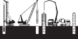 De bouwmachines maken stichtingen van een gebouw vector illustratie