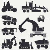 De bouwmachines van het lijn vlakke vectordiepictogram met bulldozer, kraan, vrachtwagen, graafwerktuig, vorkheftruck, cementmixe Stock Fotografie