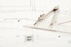 De bouwplan van de architectuur Stock Foto
