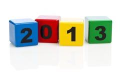 De bouwstenen die van het alfabet jaar 2013 tonen Stock Fotografie