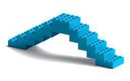 De bouwstenen overbruggen 3d bouw op wit Stock Foto's