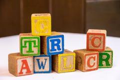 De bouwstenen van het stuk speelgoed Stock Afbeeldingen
