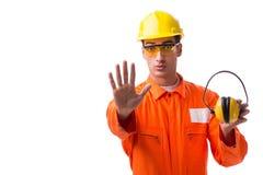 De bouwvakker die met lawaai oortelefoons annuleren royalty-vrije stock afbeeldingen