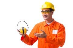 De bouwvakker die met lawaai oortelefoons annuleren royalty-vrije stock foto