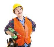 De bouwvakker houdt van Haar Baan Royalty-vrije Stock Afbeelding