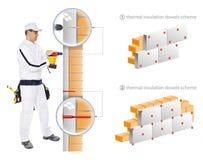 De bouwvakker installeert isolatie van huis Stock Afbeelding