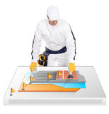 De bouwvakker toont hoe de tegels gelijmd zijn Stock Foto