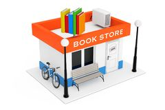 De Bouwvoorgevel van Toy Cartoon Book Shop of van de Boekhandel 3D renderin Royalty-vrije Stock Foto