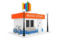 De Bouwvoorgevel van Toy Cartoon Book Shop of van de Boekhandel 3D renderin Stock Afbeelding