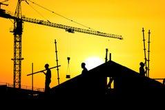 De bouwwerf van het silhouet Stock Fotografie