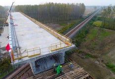 De bouwwerf van de de hoge snelheidsspoorweg van China Stock Foto