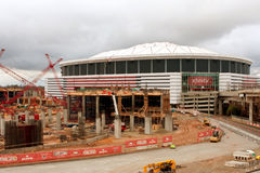 De Bouwwerf van Nieuw Stadion zit naast Georgia Dome Stock Afbeeldingen