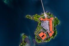De bovenkant bezocht Litouwse plaatsen, Trakai, luchtfoto royalty-vrije stock fotografie